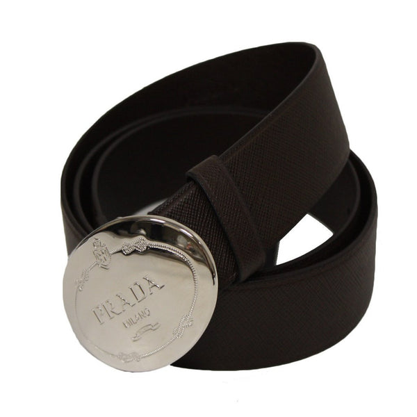 Prada Brown Saffiano Leather Belt with Silver Prada Belt Buckle Size 100 / 40 - Retail Basis