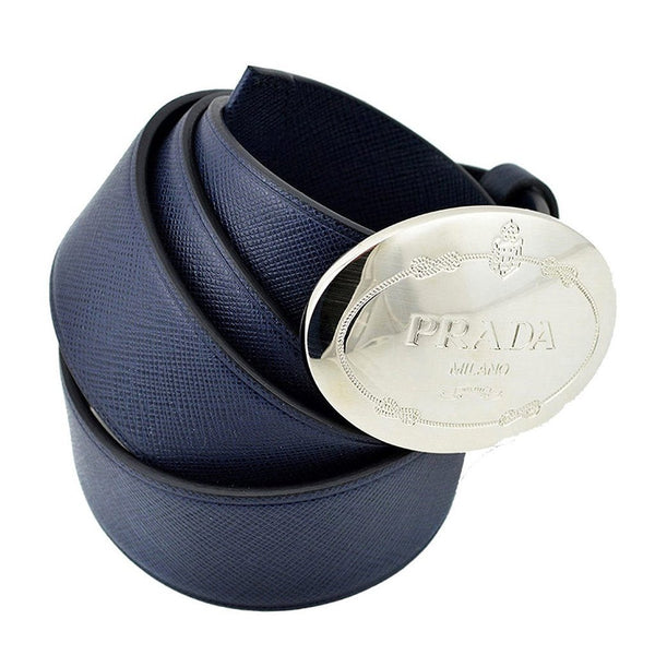 Prada Navy Blue Saffiano Leather Belt with Silver Belt Buckle Size 90 / 36 - Retail Basis
