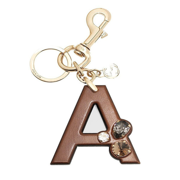 Gucci 'A' Brown Leather Key Ring Handbag Charm with Swarovski Crystals - Retail Basis