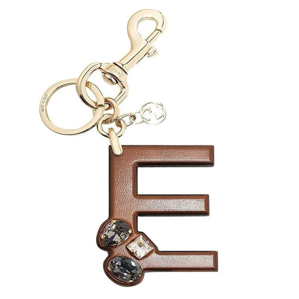 Gucci 'E' Brown Leather Key Ring Handbag Charm with Swarovski Crystals - Retail Basis