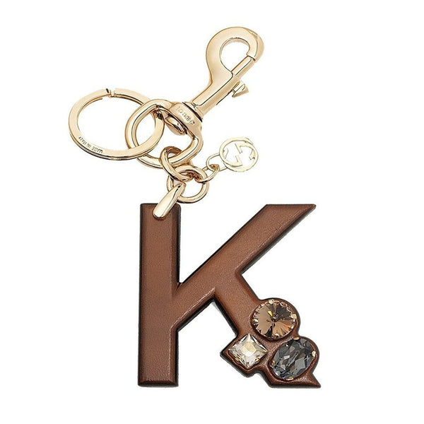 Gucci 'K' Brown Leather Key Ring Handbag Charm with Swarovski Crystals - Retail Basis