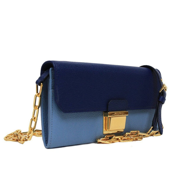Miu Miu by Prada Color Block Blue Leather Women's Clutch Wallet - Retail Basis