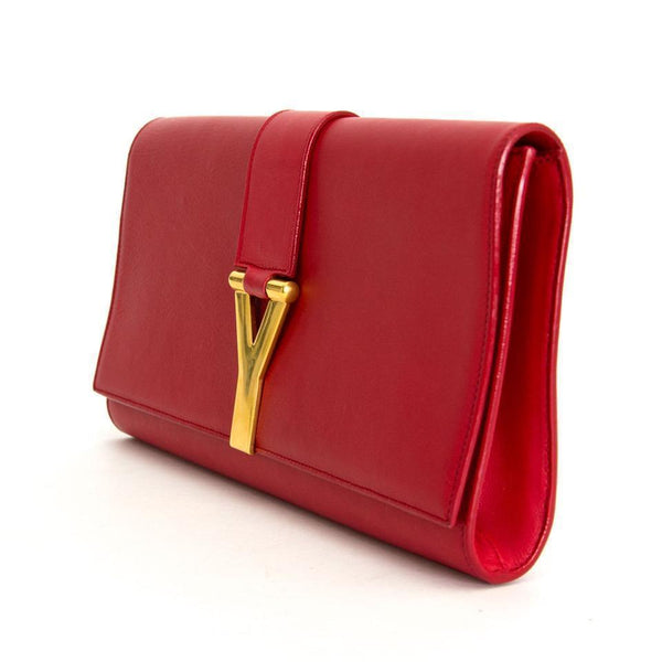 SAINT LAURENT 'Y' LARGE Leather Clutch Handbag - Retail Basis