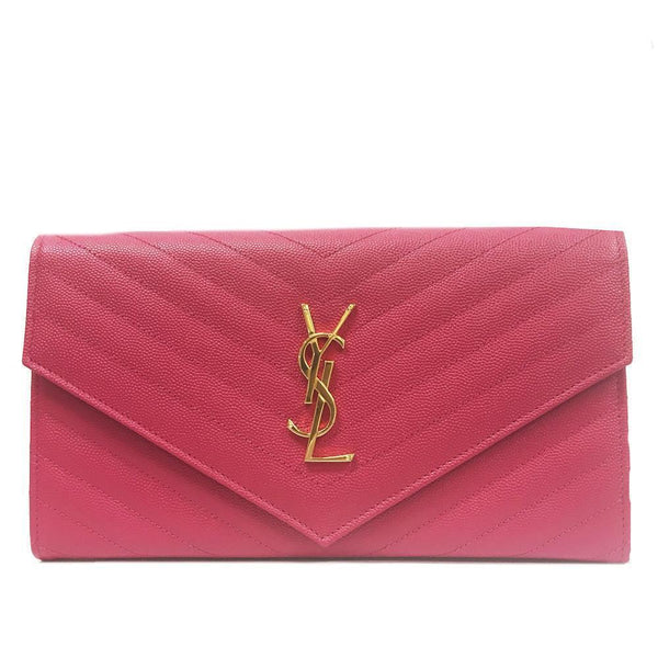 SAINT LAURENT YSL Monogram Grande Pink Leather Wallet - Retail Basis