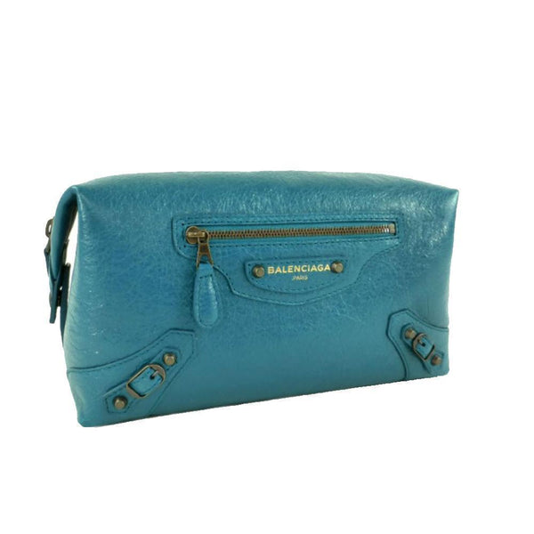 Balenciaga Women's City Lagon Blue Leather Vanity Case Bag - Retail Basis