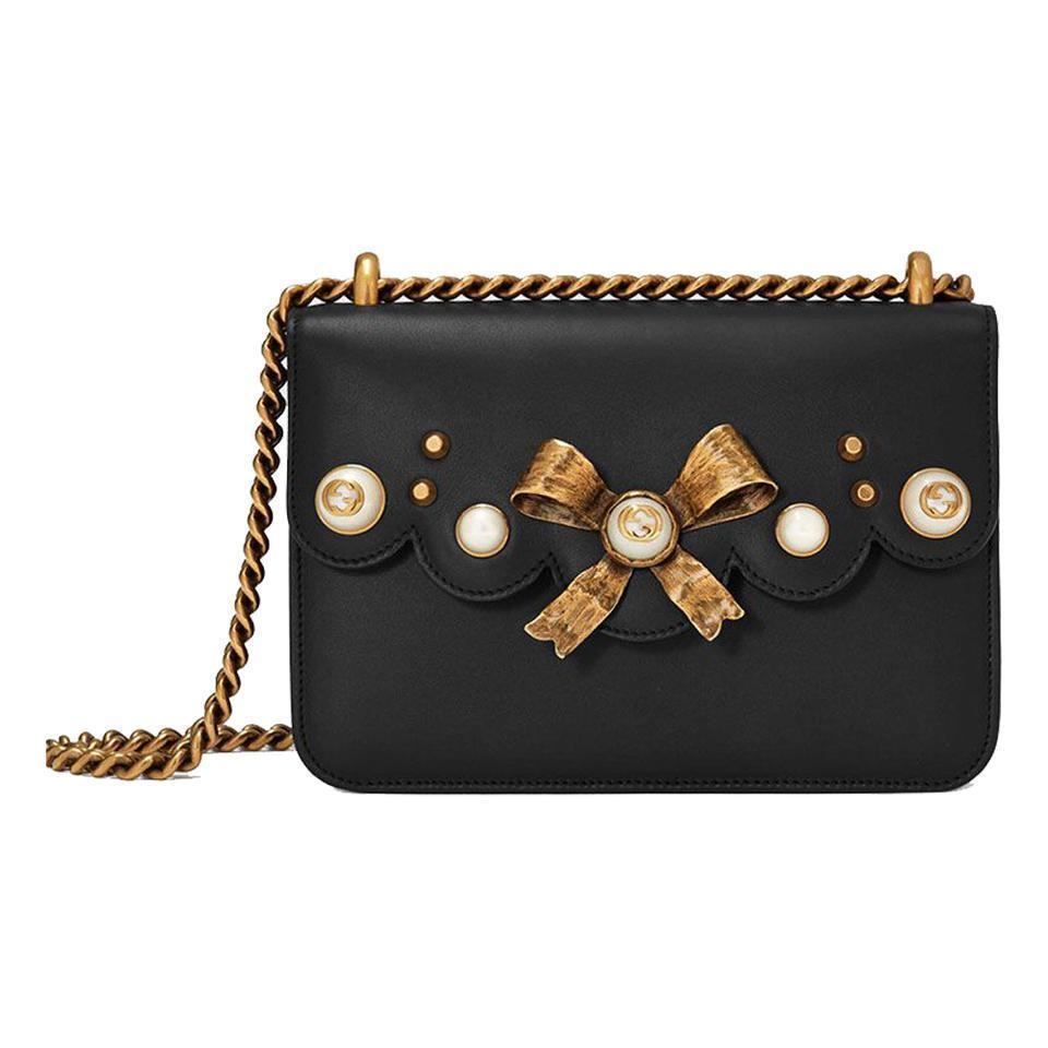 Gucci Bow Pearl Leather Chain Bag - Retail Basis
