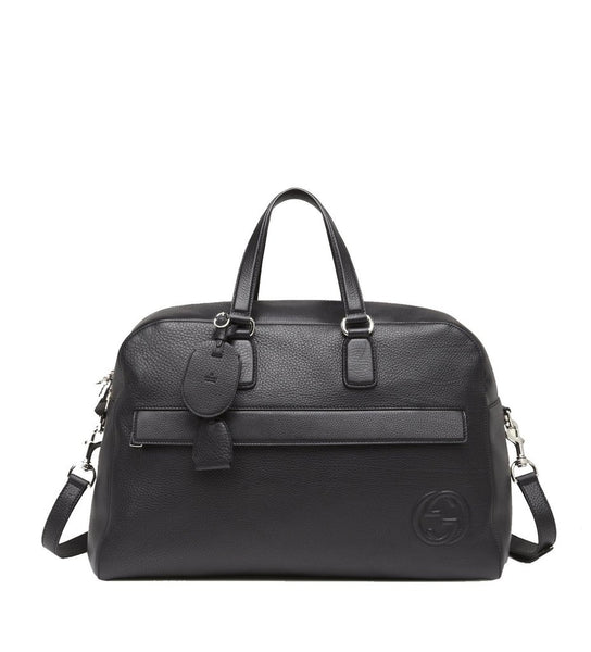 Gucci Men's Black Leather Duffle Travel Bag - Retail Basis