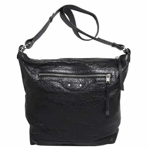 BALENCIAGA  Classic Black Lambskin Leather Messenger Bag - Retail Basis