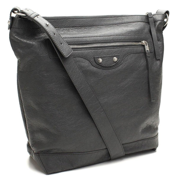BALENCIAGA Classic Grey Lambskin Leather Messenger Bag - Retail Basis
