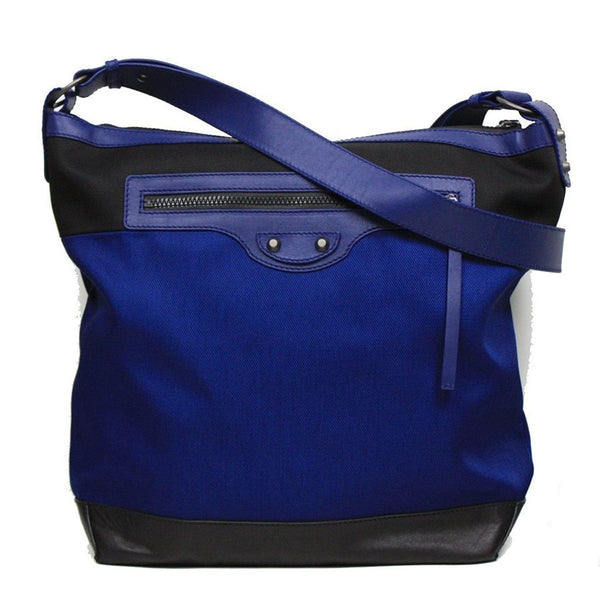 BALENCIAGA Nylon and Leather Veau Navy Blue Messenger Bag - Retail Basis