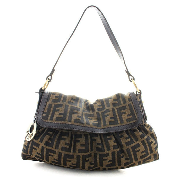 Fendi Chef FF Zucca Canvas Leather Hobo Shoulder Bag - Retail Basis