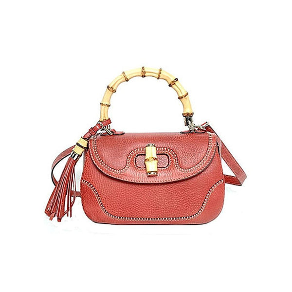 GUCCI Bamboo Large Top Handle Bag Coral Red Leather Handbag - Retail Basis