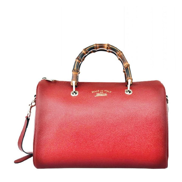 GUCCI Bamboo Top-handle Leather Boston Red Satchel - Retail Basis