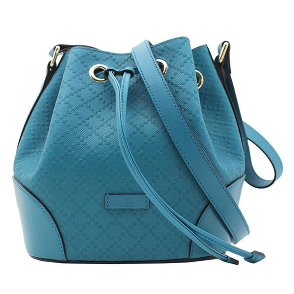 GUCCI  Bright Diamante Leather Bucket Bag Handbag, Turquoise Blue - Retail Basis
