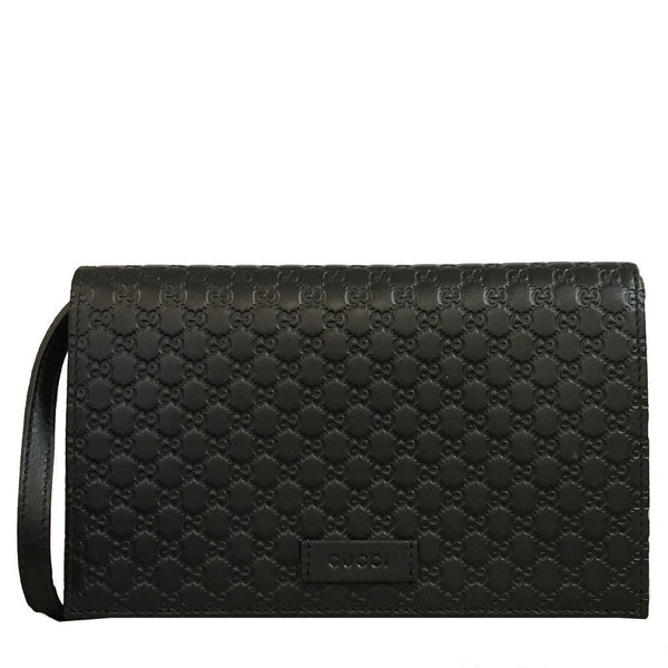 GUCCI Guccissima GG Leather Crossbody Shoulder Wallet Bag Black - Retail Basis