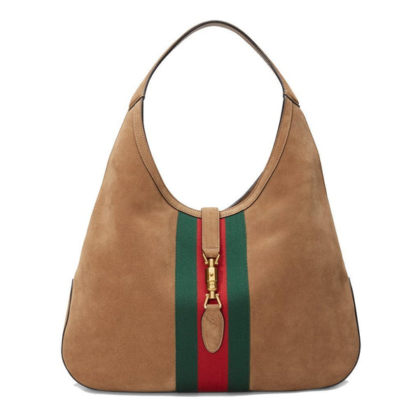 Gucci Jackie Soft Suede Hobo Shoulder Bag Brown Taupe - Retail Basis