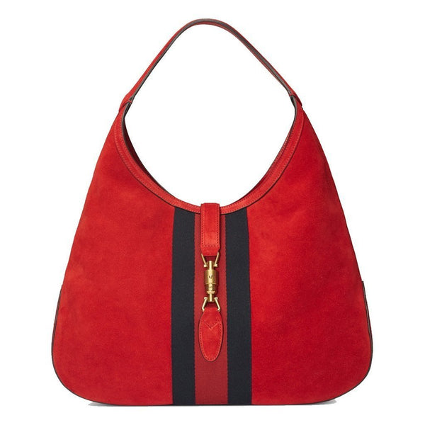 Gucci Jackie Soft Suede Hobo Shoulder Bag, Red - Retail Basis