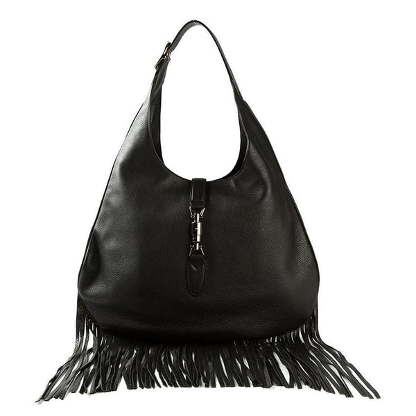 Gucci Nouveau Fringe Black Leather Hobo New Jackie Black Leather Handbag - Retail Basis