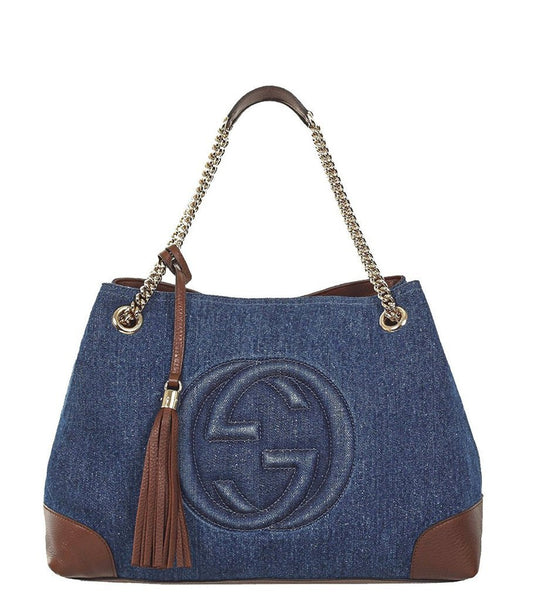 GUCCI 'Soho' Dark Denim Chain Shoulder Bag - Retail Basis
