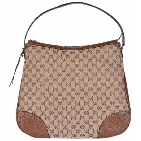 Gucci Women's Large Bree Canvas Leather Hobo Handbag (Beige/Brown) - Retail Basis