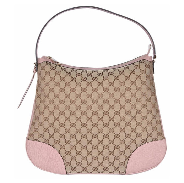 Gucci Women's Large Canvas Leather Bree Hobo Purse (Beige/Pink) - Retail Basis