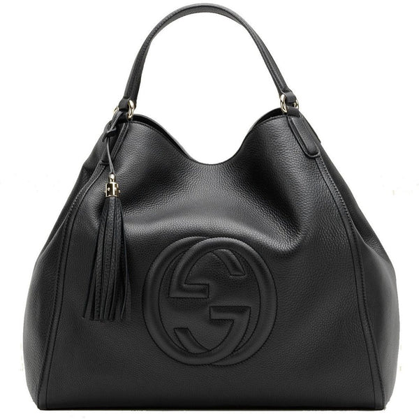 Gucci Women's Soho Medium Black Leather Shoulder Handbag - Retail Basis