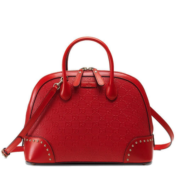 GUCCI Women's Studded Diamante GG Red Leather Bag - Retail Basis