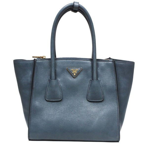 Prada Glance Twins Leather Shopping Tote with Shoulder Strap Marine Blue - Retail Basis