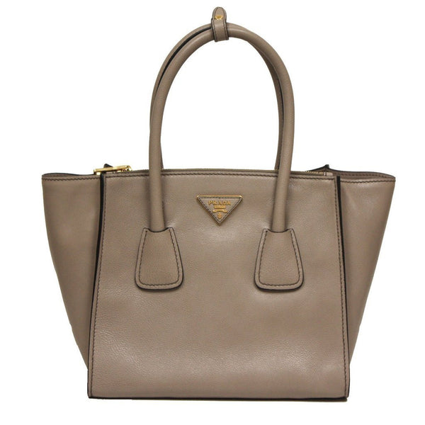 Prada Glance Twins Leather Shopping Tote with Shoulder Strap  Pomice Grey - Retail Basis