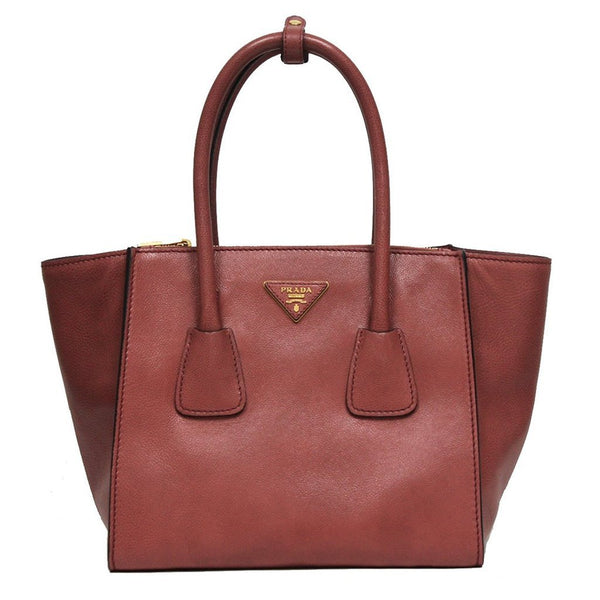 Prada Glance Twins Leather Shopping Tote with Shoulder Strap Rose Pink - Retail Basis