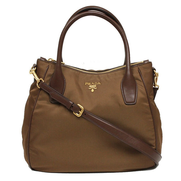 Prada Tessuto Sacca 2 Manici Brown Nylon Hobo Shoulder Bag - Retail Basis