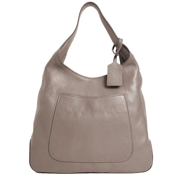 Prada Women's Argilla Grey Leather Large Hobo Handbag - Retail Basis