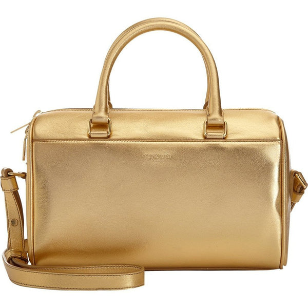 SAINT LAURENT Classic Sac Mini Baby Duffle Gold Metallic Leather Satchel Purse - Retail Basis