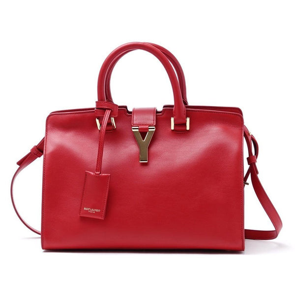 Saint Laurent Classic Small Cabas Y Top Handle Shoulder Bag in Red Leather - Retail Basis
