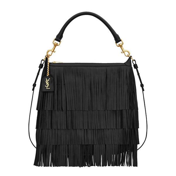 Saint Laurent 'Emmanuelle' Small Leather Fringe Hobo Bag - Retail Basis