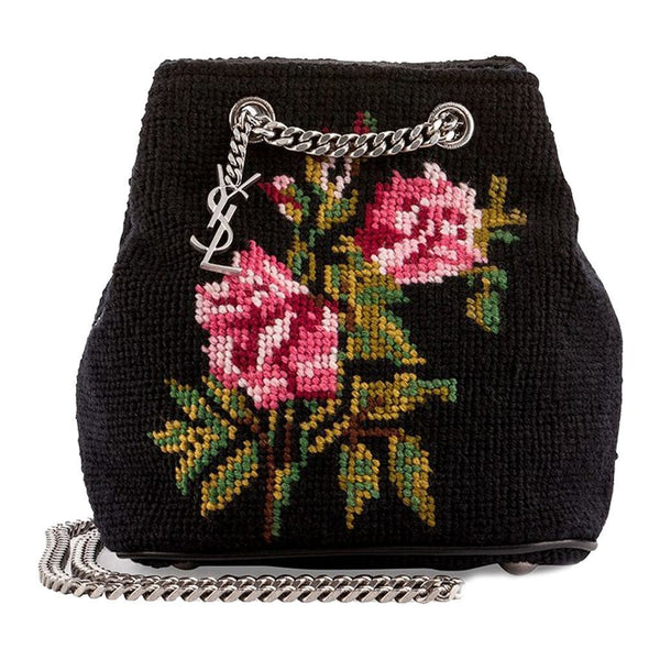 SAINT LAURENT YSL Embroidered Baby Bucket Chain Bag - Retail Basis