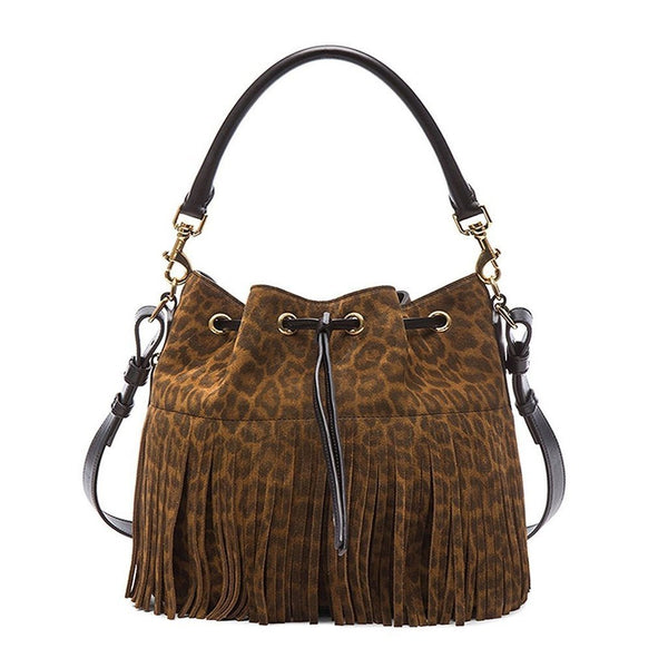 SAINT LAURENT 'YSL' Emmanuelle Fringed Sac Bucket Bag Leopard Print MEDIUM - Retail Basis