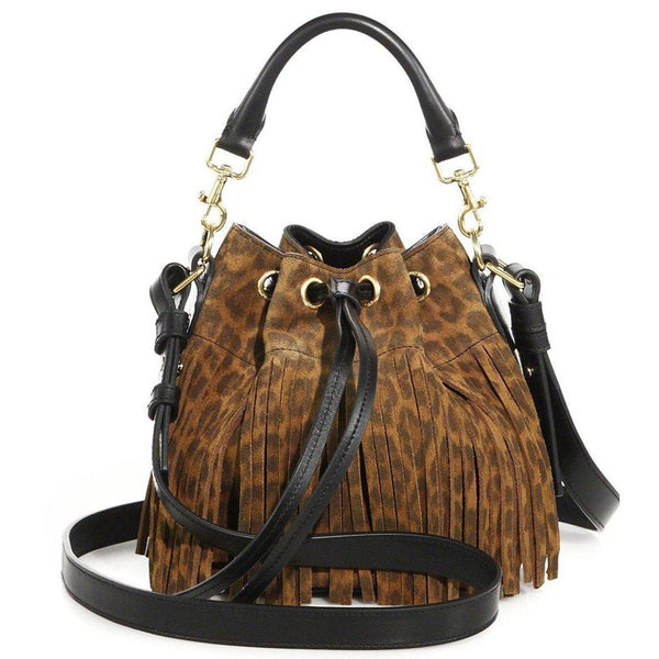 SAINT LAURENT 'YSL' Emmanuelle Fringed Sac Bucket Bag Leopard Suede SMALL - Retail Basis