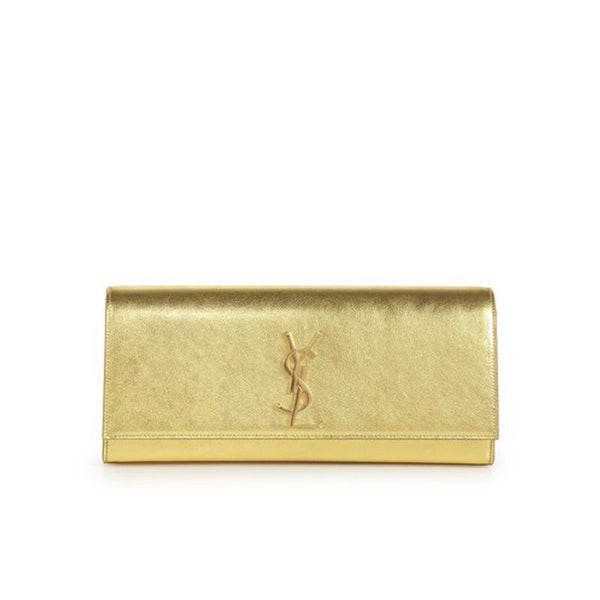 YSL Saint Laurent Cassandre Women's Gold Evening Clutch - Retail Basis