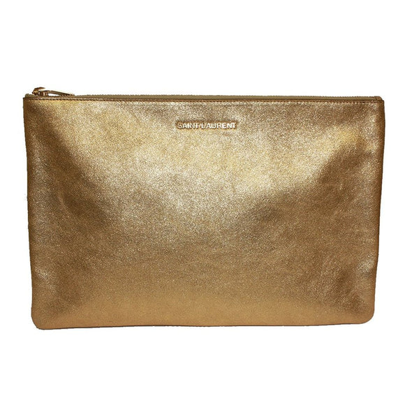 Saint Laurent 'Letters' Metallic Gold Calfskin Leather Zip Clutch - Retail Basis