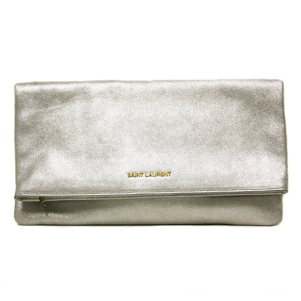 Saint Laurent 'Letters' Metallic Silver Calfskin Leather Fold-over Clutch - Retail Basis