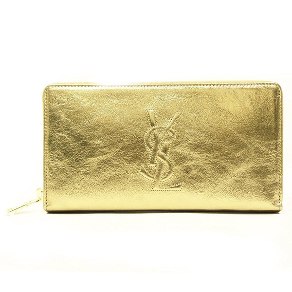 Saint Laurent 'YSL' Belle du Jour Metallic Leather Zip Around Wallet - Retail Basis