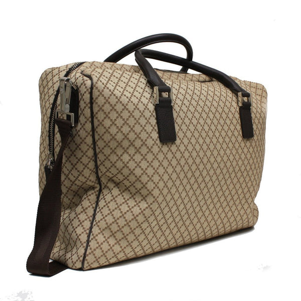 Gucci Beige Diamante Canvas Leather Large Travel Duffle Carry-On Luggage - Retail Basis
