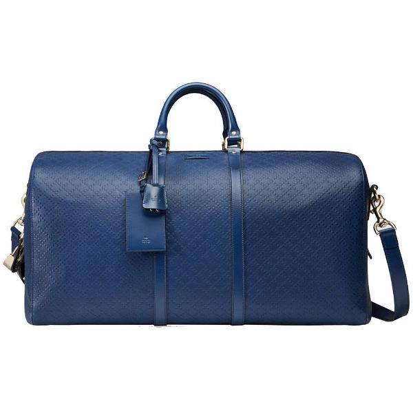 Gucci Blue Leather Hilary Lux Diamante Duffle Travel-Bag - Retail Basis