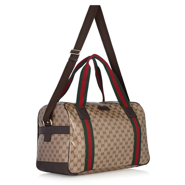 GUCCI Crystal GG Canvas Leather Large Travel Duffle Carry-On Luggage Bag - Retail Basis