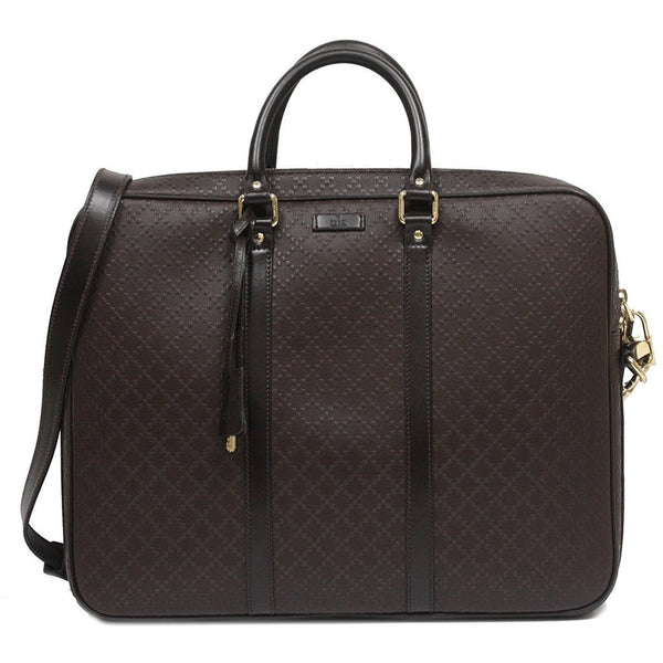 Gucci Diamante Leather Large Briefcase Bag Dark Brown - Retail Basis
