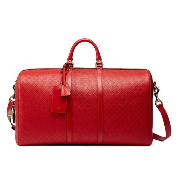 GUCCI Diamante Red Leather Duffle Travel Bag - Retail Basis