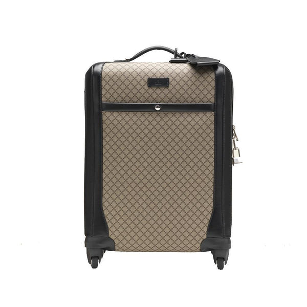 Gucci Men's Wheel Black Supreme Canvas Carry-On Suitcase Luggage - Retail Basis