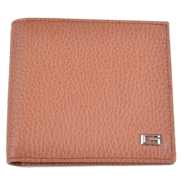 GUCCI 150404 Men's Cognac Textured Leather G Plaque Bifold Wallet - Retail Basis