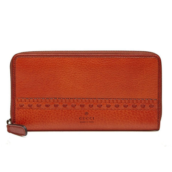 GUCCI 'Laidback Crafty' Leather Zip Around Wallet, Burnt Orange - Retail Basis